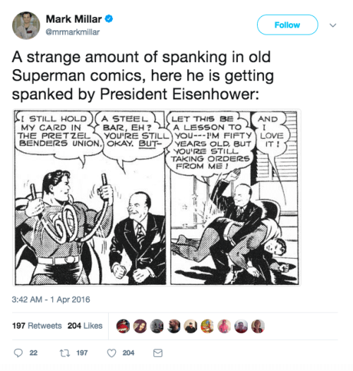 Superman being spanked by President Eisenhower