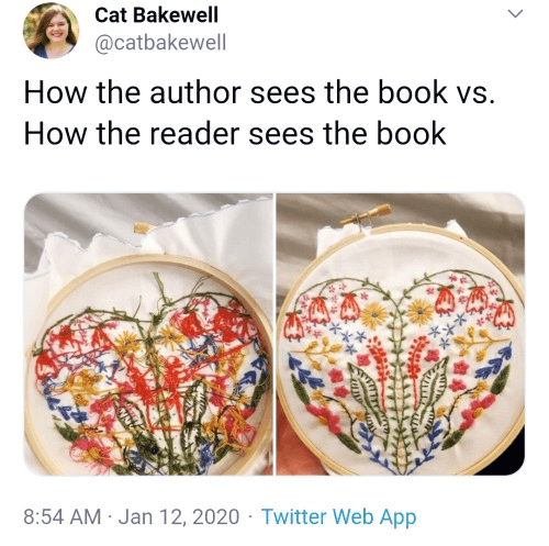 how the author sees the book vs. how the reader sees the book